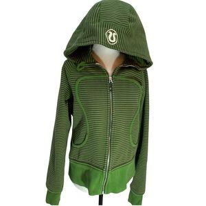 Lululemon Green/Brown Stripe Scuba Hoodie EUC Size 10